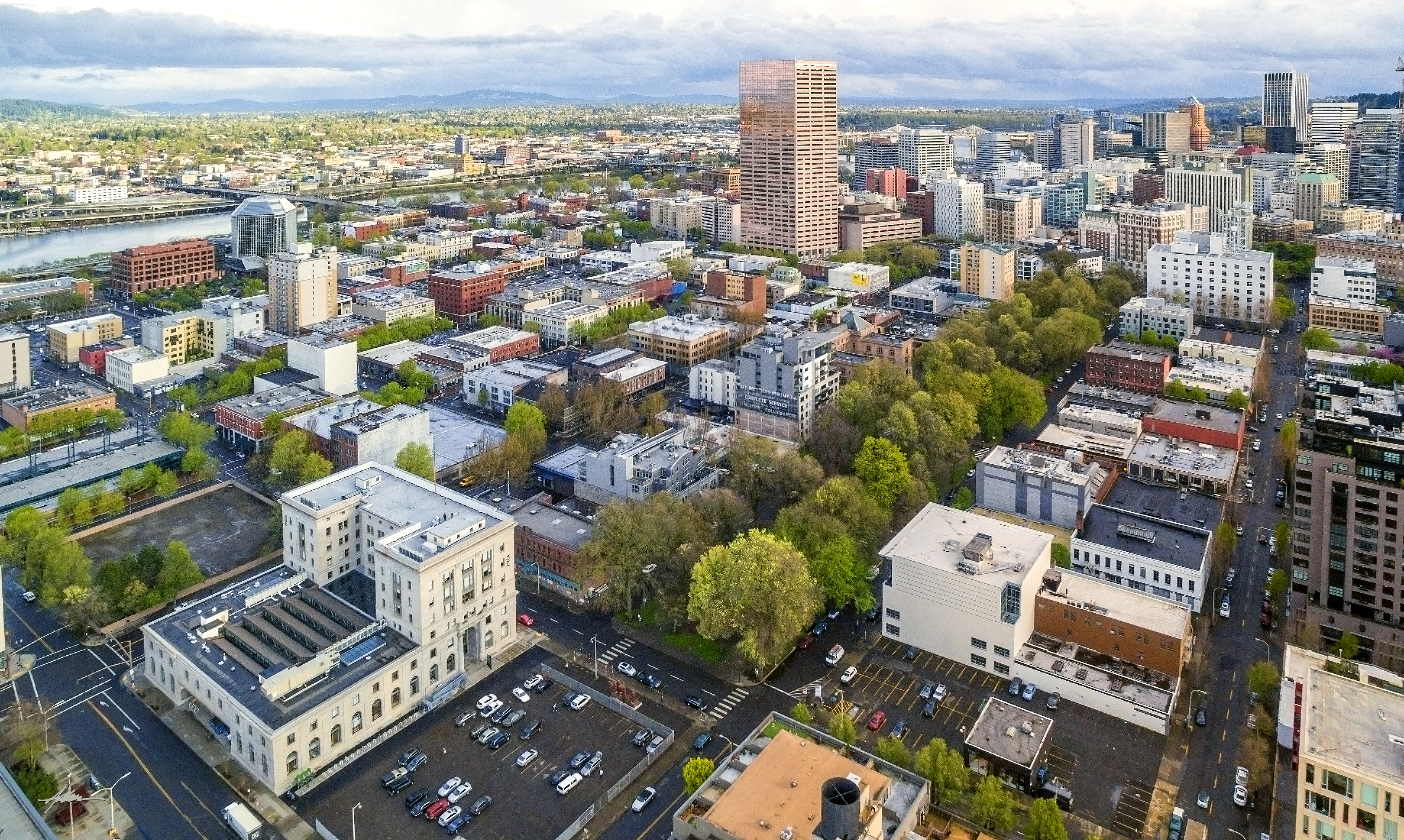 Portland, Oregon's Oldtown (Aerial)